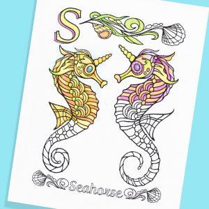 Seahorse unicorns to color
